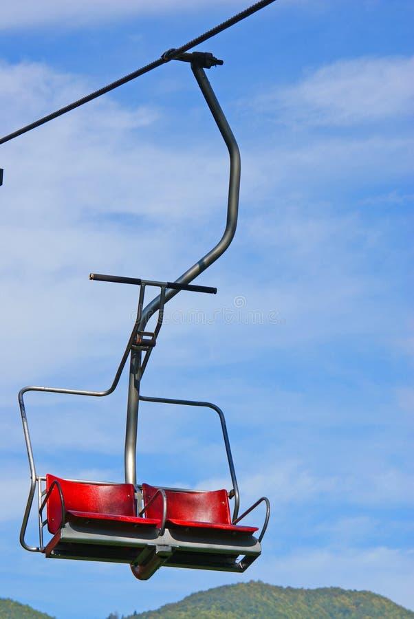 Ski chair lift. In sky stock photos