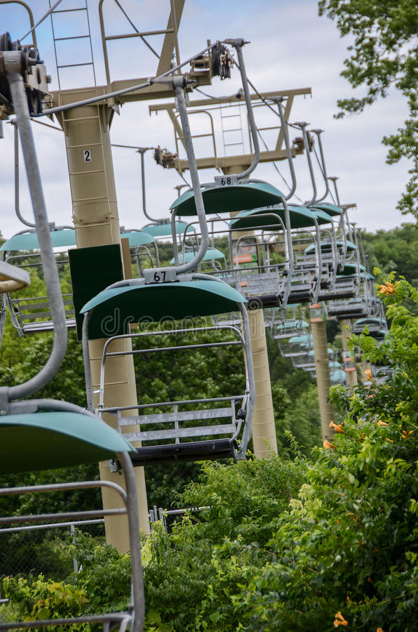 Ski Chair Lift. Ski lift, Aerial tramway and Chairlifts, are what they are referred to stock image