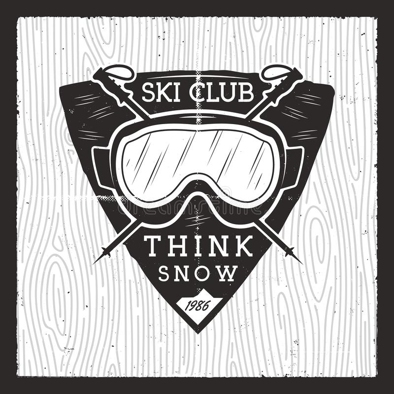 Ski club badge. Winter adventure card. Wild Mountain Skiing logo with ski equipment goggles. Nice for snowboard, outdoor vector illustration