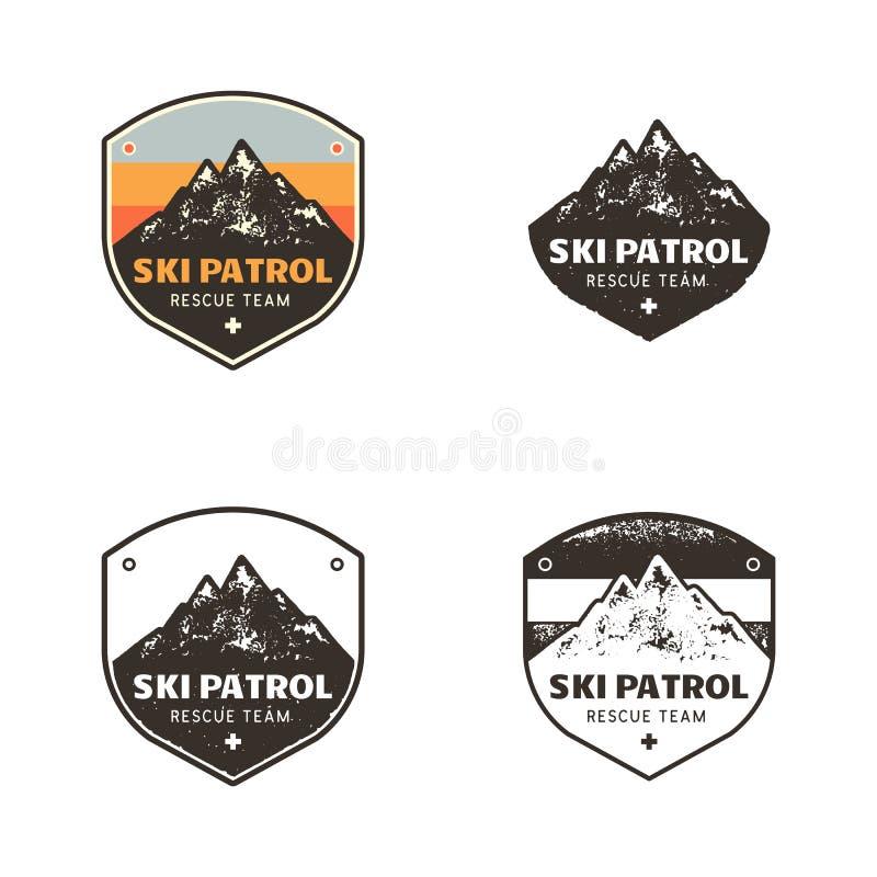 Ski Club, Patrouilleetiketten De uitstekende hand getrokken kentekens van de het kampontdekkingsreiziger van de bergwinter Openlu vector illustratie