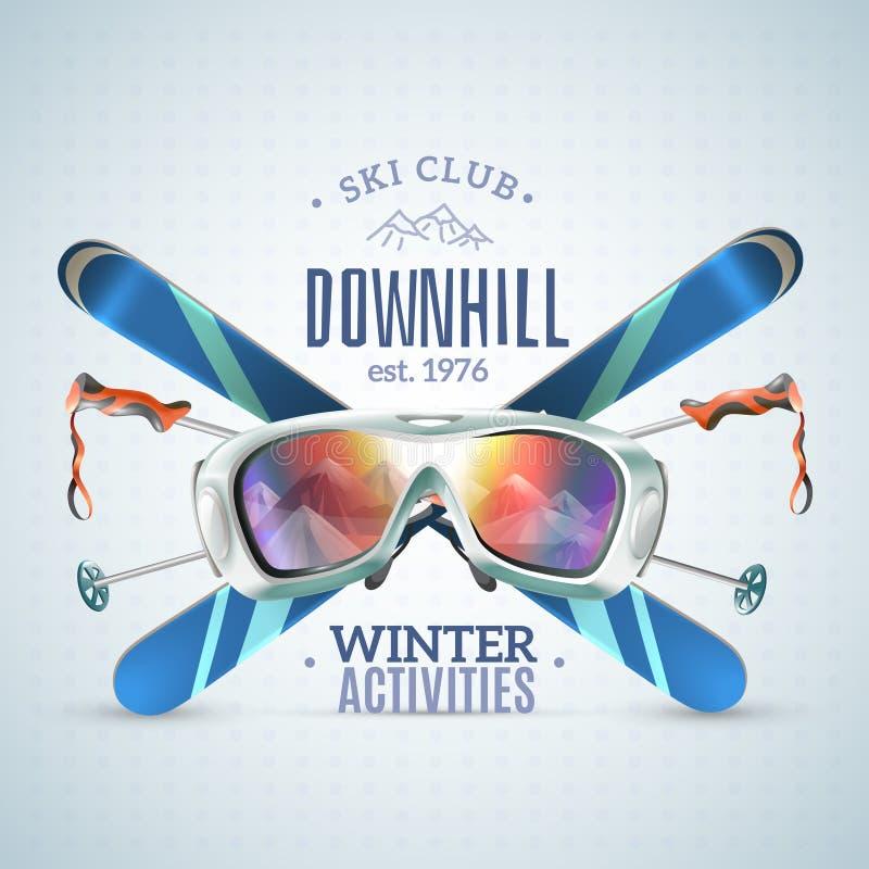 Ski Club Poster ilustração royalty free