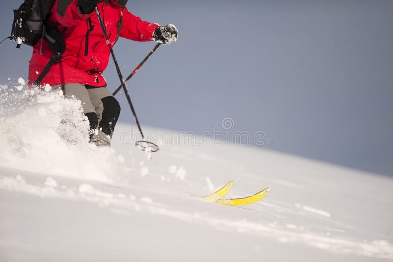 Ski dans la neige profonde image libre de droits