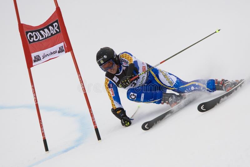 SKI: De alpiene ReuzeSlalom van Alta Badia van de Kop van de Wereld van de Ski stock afbeelding