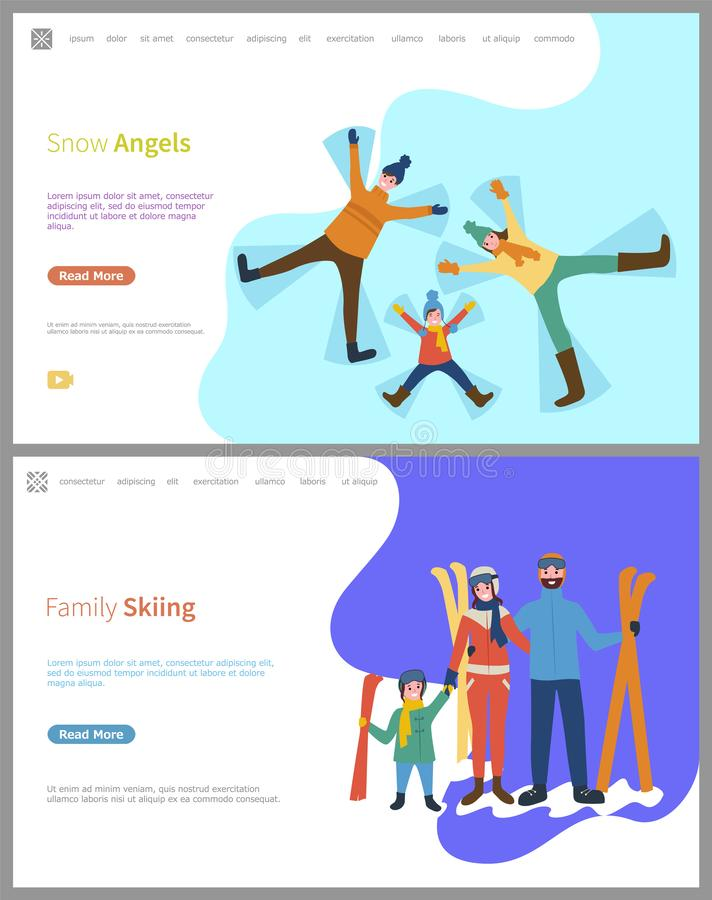 Ski de famille, anges de neige faits par des membres de la famille illustration libre de droits