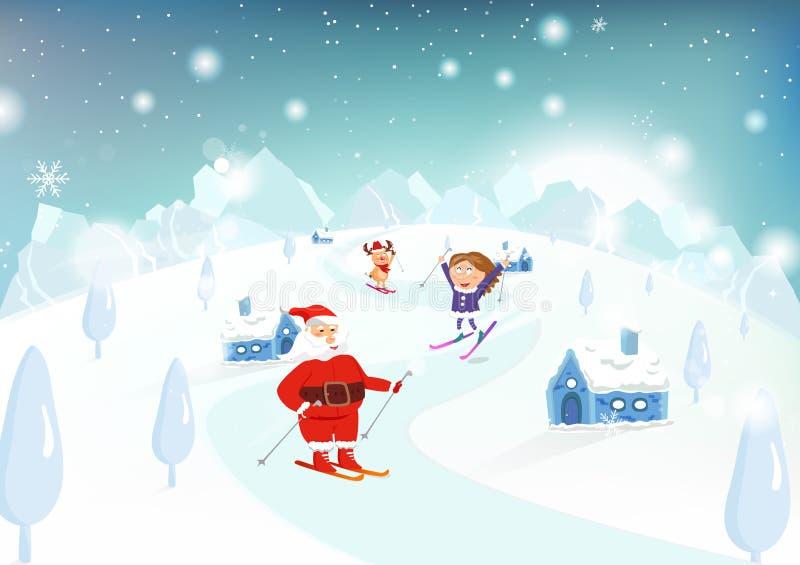 Ski de Noël, de Santa Claus, d'enfant et de renne sur des montagnes dedans illustration libre de droits