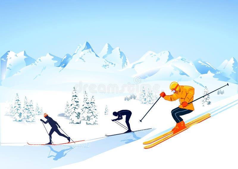Ski de pays en travers   illustration stock