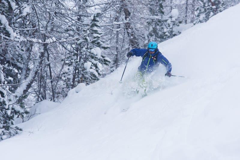 Ski de skieur de Freeride dans la neige profonde de poudre image stock