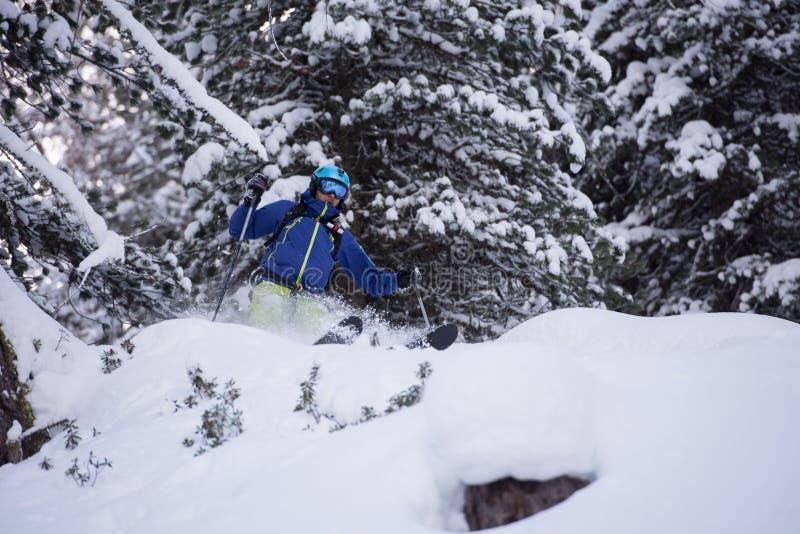 Ski de skieur de Freeride dans la neige profonde de poudre images stock