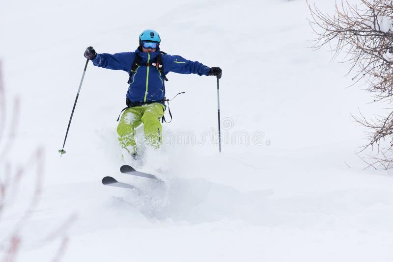 Ski de skieur de Freeride dans la neige profonde de poudre photos libres de droits