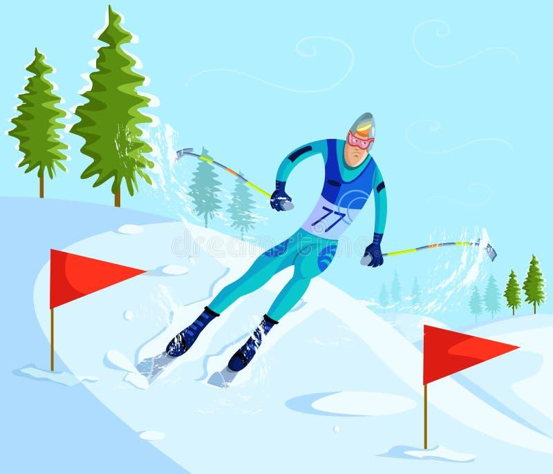 Ski de skieur dessus incliné illustration libre de droits