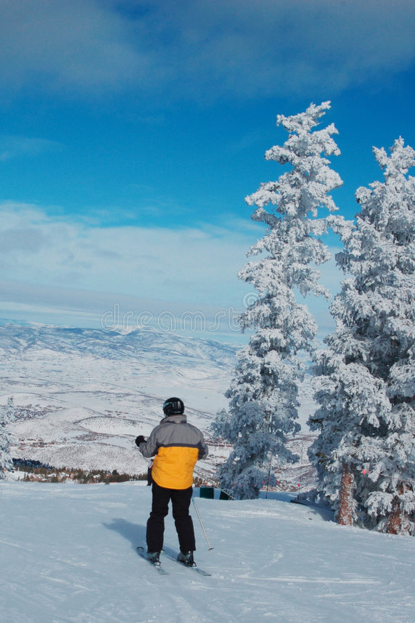 Ski in Deer Valley. Deer Valley is an alpine ski resort in the Wasatch Range in the Park City area of northern Utah. It was a site of the 2002 Winter Olympics royalty free stock image