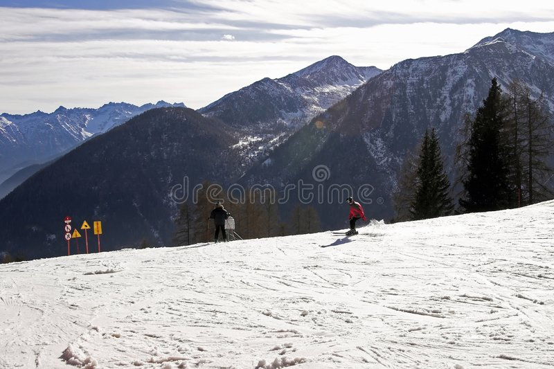 Ski In Dolomite Royalty Free Stock Photos