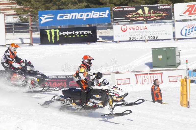 Ski Doo #230 Snowmobile Racing stock photo