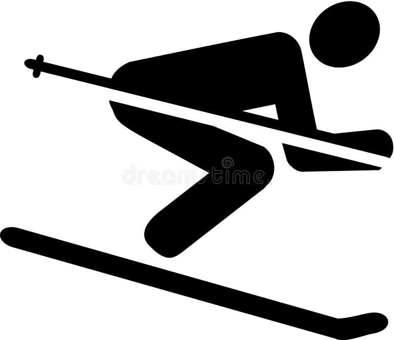 Ski Downhill Pictogram ilustração stock