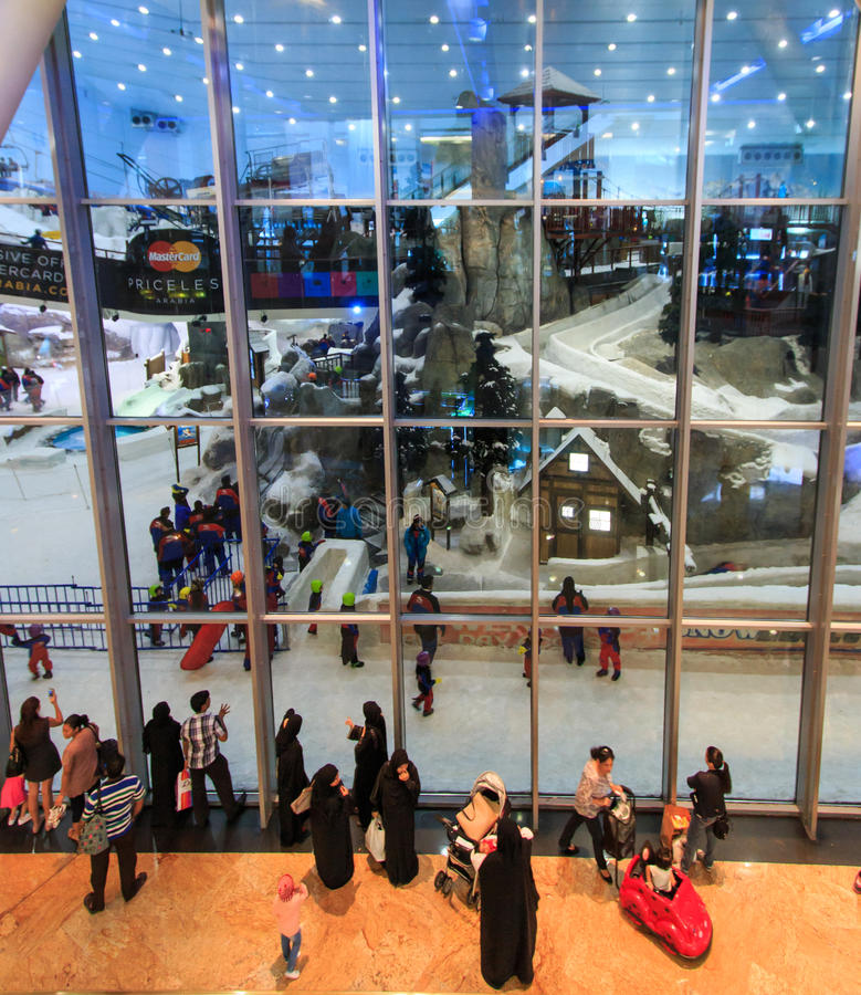 Ski Dubai inside the Mall of the Emirates in Dubai, UAE. Dubai, United Arab Emirates - October 8, 2014: Ski Dubai inside the Mall of the Emirates in Dubai, UAE royalty free stock image