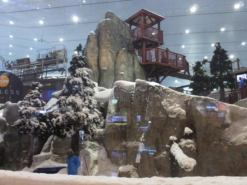 Ski Dubai at Mall of the Emirates in Dubai, UAE. Ski Dubai is the Middle East's first indoor ski resort and snow park and is part of Mall of the royalty free stock photo