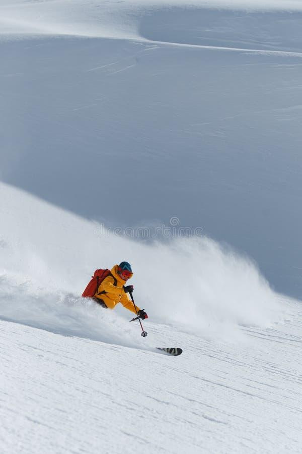 Ski en poudre photo stock