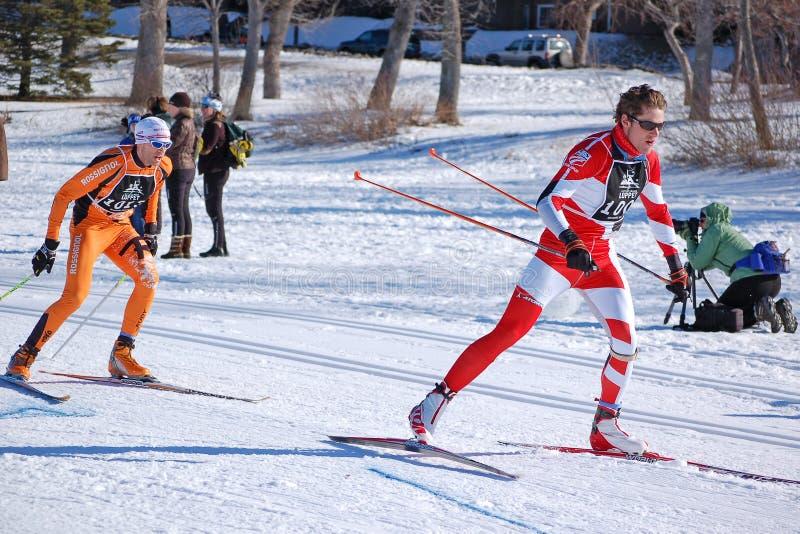ski en travers de chemin de pays images libres de droits