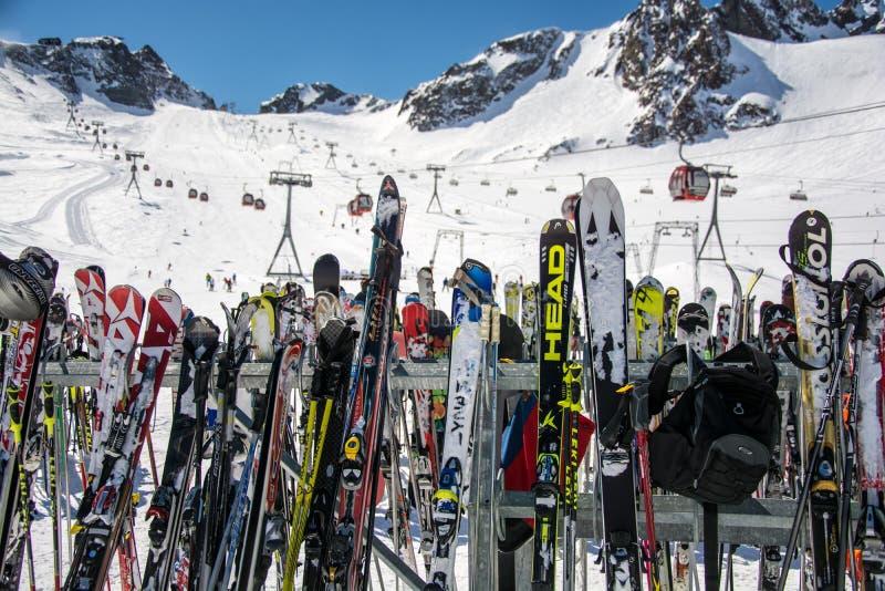 Ski equipment in ski resort. On Stubai royalty free stock images