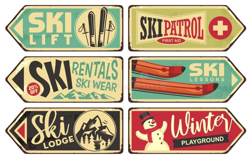 Ski et collection de signes de vacances d'hiver rétro illustration libre de droits