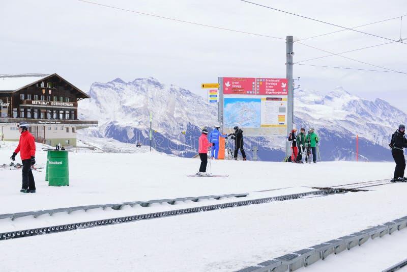 Ski fahren in der Schweiz lizenzfreies stockfoto