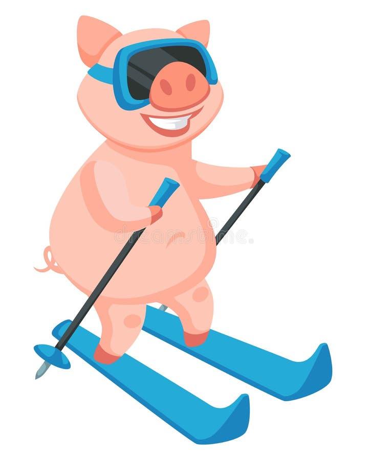 Ski fahrende Tätigkeit des Ferkels, symbolisches Tier des neuen Jahres lizenzfreie abbildung