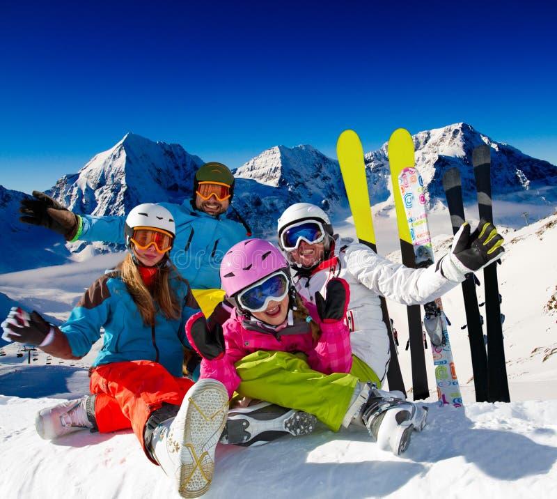 Ski family. Ski, snow and winter fun - happy family ski team