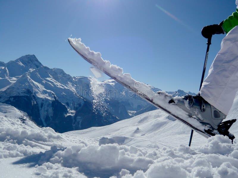 Ski fun on a mountain top royalty free stock image