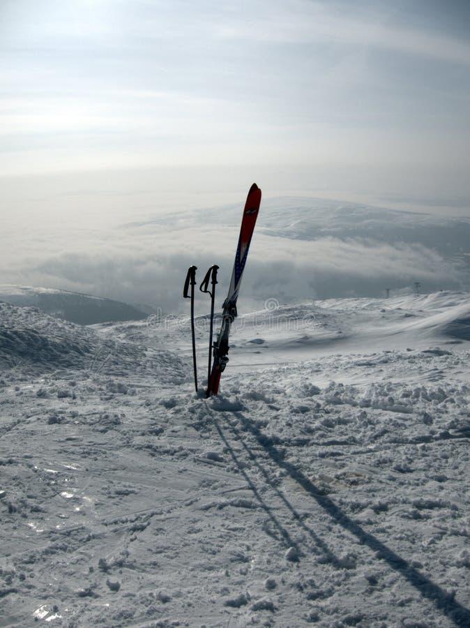 Ski gear in snow royalty free stock image