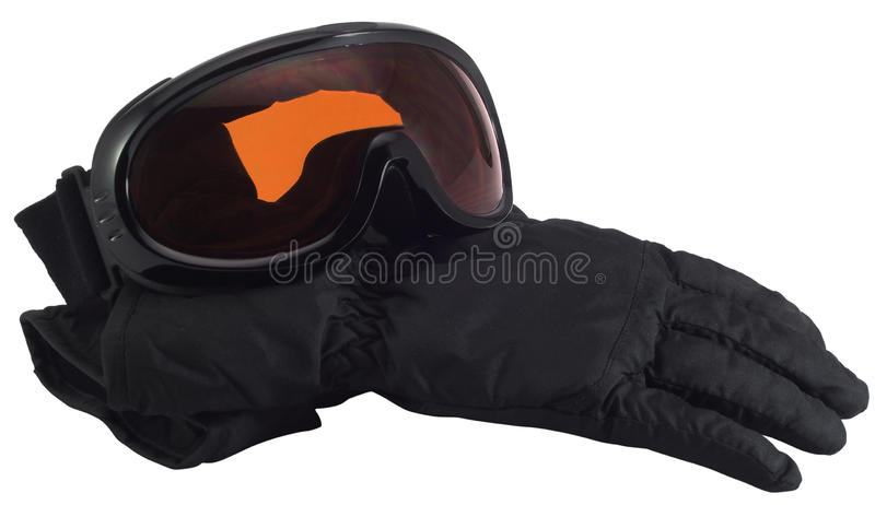 Ski glasses and gloves stock photography