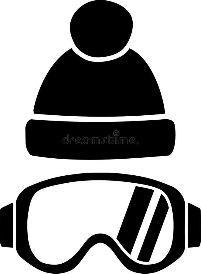 Ski Goggles com chapéu ilustração do vetor