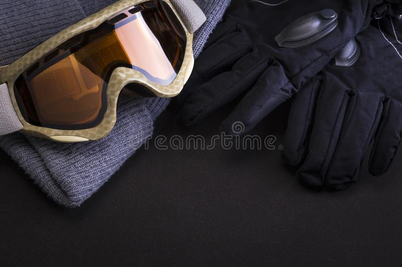 Ski goggles hat and gloves stock photography