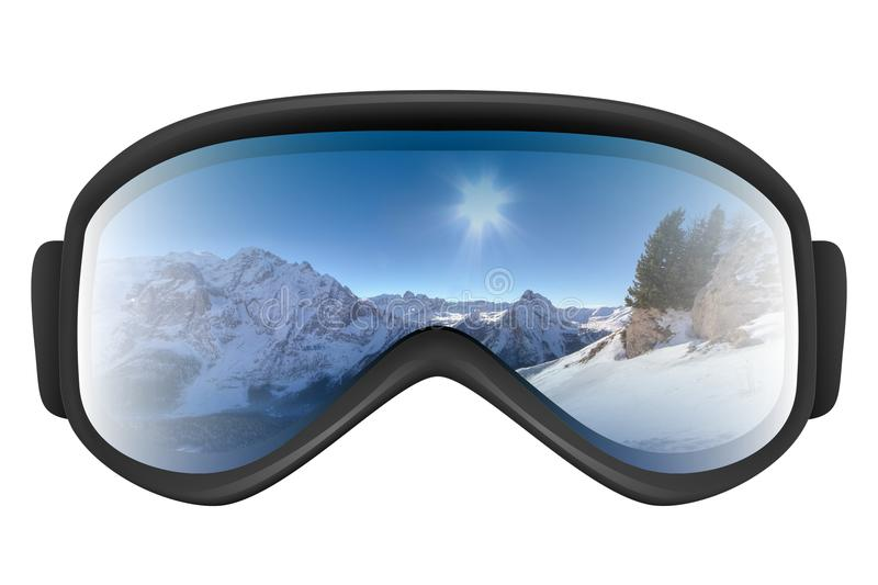 Ski goggles with reflection of mountains. Isolated on the white background. Realistic 3D illustration stock illustration