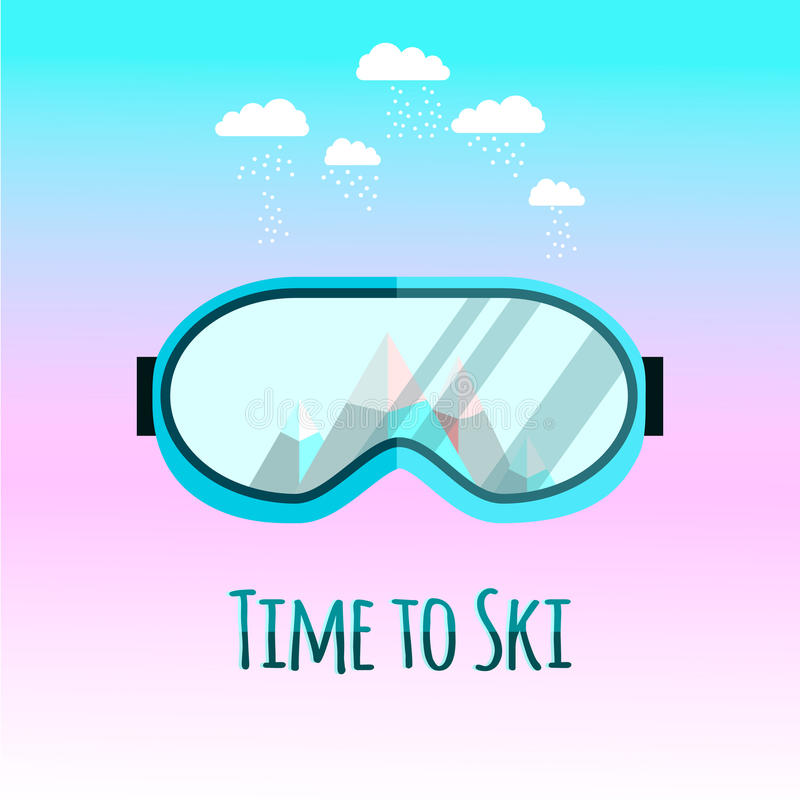 Ski goggles with reflection of mountains. stock images