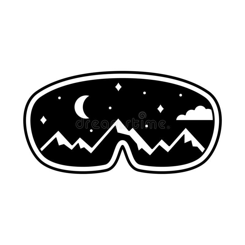 Free Ski Goggles With Reflection Of Snowy Mountains, Night Sky, Moon. Black Illustration Of Snowboard Equipment, Winter Sports Mask. Royalty Free Stock Photography - 190331477