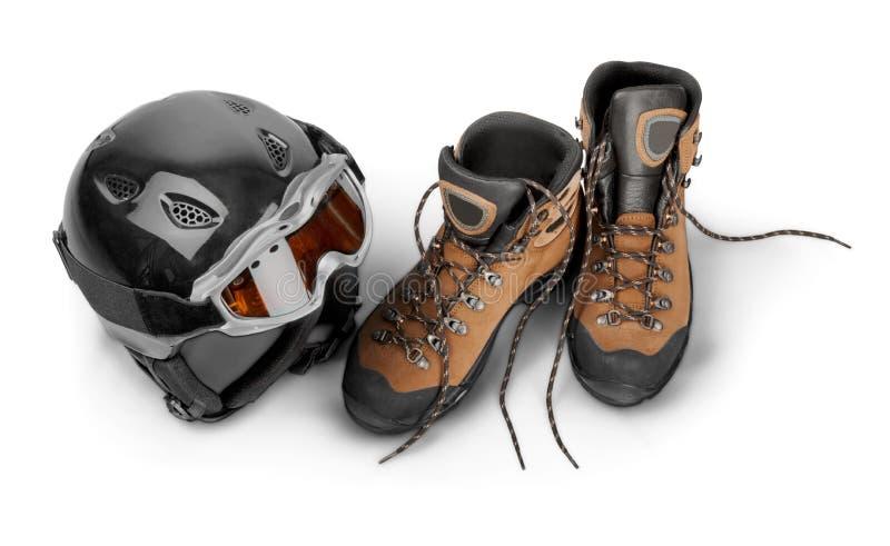 Ski Helmet e óculos de proteção com caminhada de botas - foto de stock