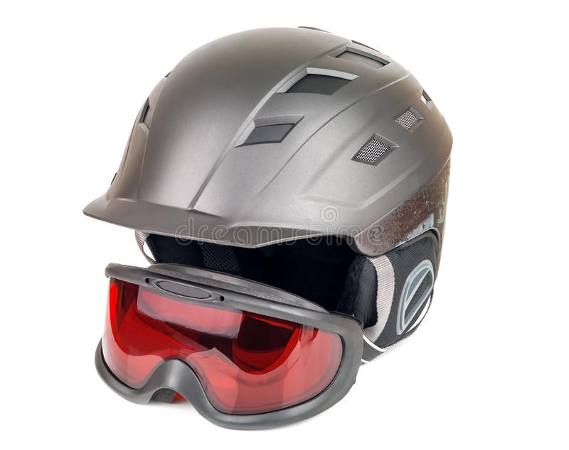 Ski helmet and goggles royalty free stock images