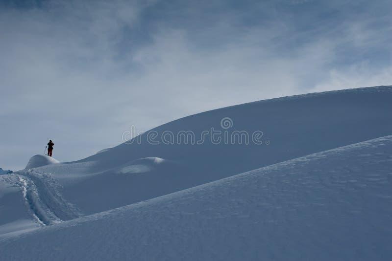 Ski Hiking In Swiss Alps Stock Photo