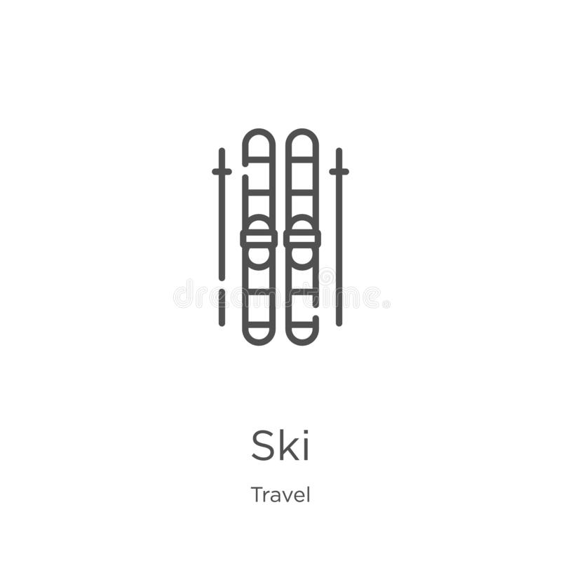 Ski icon vector from travel collection. Thin line ski outline icon vector illustration. Outline, thin line ski icon for website. Ski icon. Element of travel vector illustration