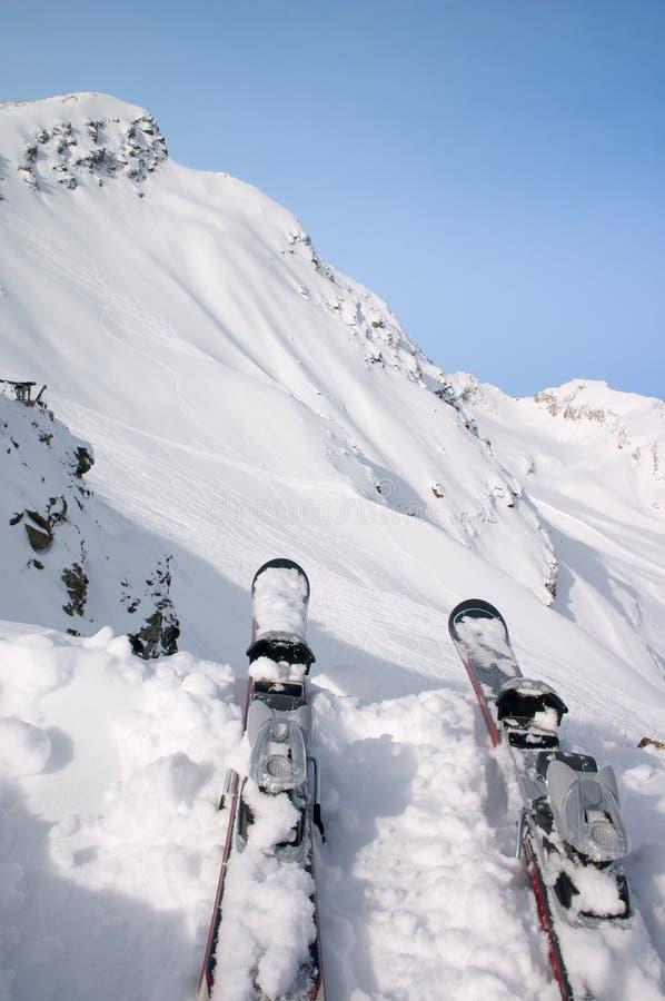 Ski im Schnee lizenzfreie stockbilder