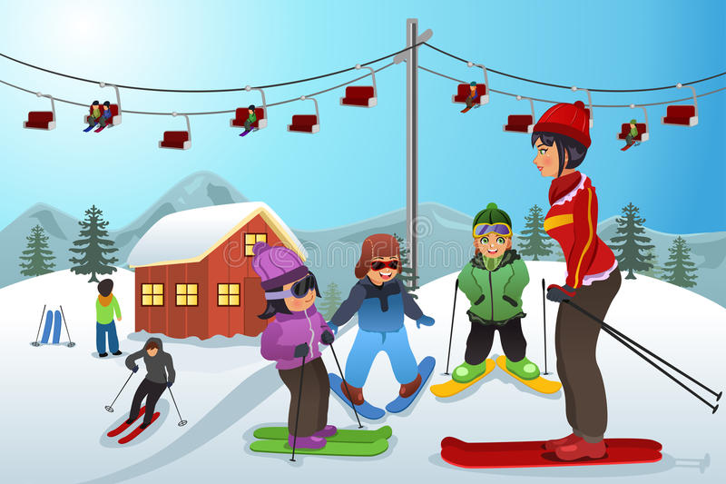 Ski Instructor Teaching Children illustration stock