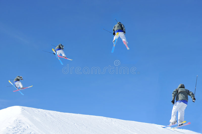 Ski jump sequence royalty free stock photography