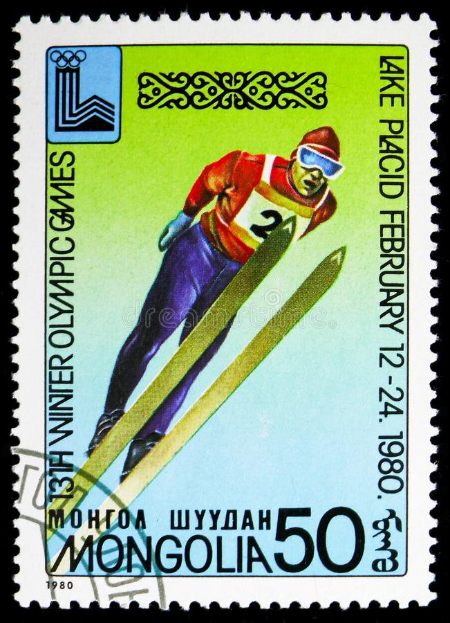 Ski jump, Winter Olympics 1980, Lake Placid serie, circa 1980. MOSCOW, RUSSIA - NOVEMBER 10, 2018: A stamp printed in Mongolia shows Ski jump, Winter Olympics stock images