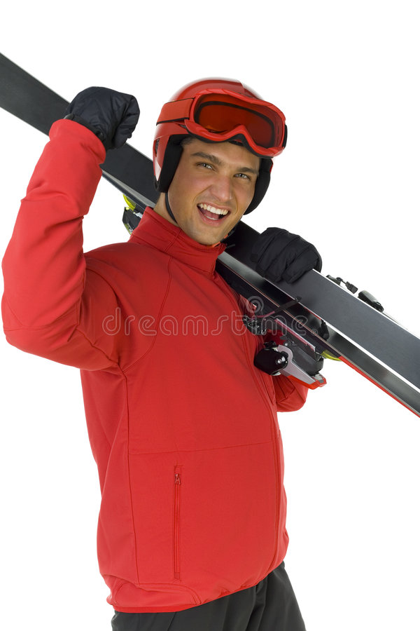 Ski jumper with his skis. Happy ski jumper holding skis on shoulder. He's on white background royalty free stock images