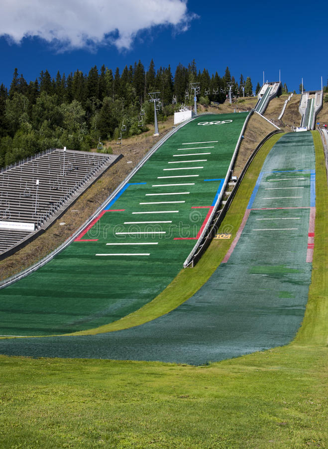Ski jumping ramps. Olympic ski jumping ramps in Lillehammer, Norway stock image