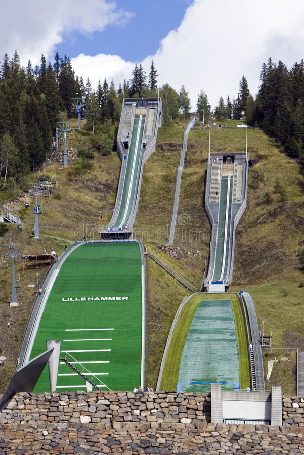 Ski jumping slopes. A famous winter olympics place, Lillehammer, Norway. Two ski jumping slopes, summer time royalty free stock photos