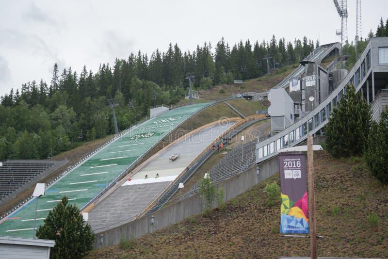 Ski Jumping Springboard em Lillehammer foto de stock