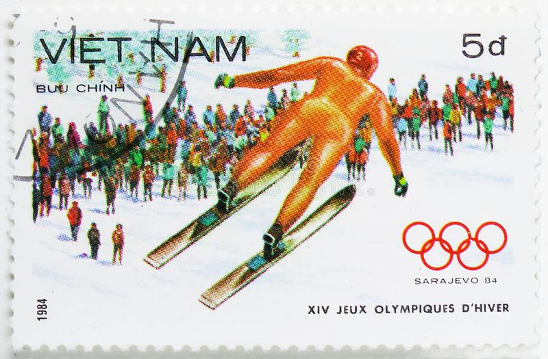 Ski Jumping, Winter Olympic Games 1984 - Sarajevo, Yugoslavia serie, circa 1984. MOSCOW, RUSSIA - JULY 25, 2019: Postage stamp printed in Vietnam shows Ski stock photo