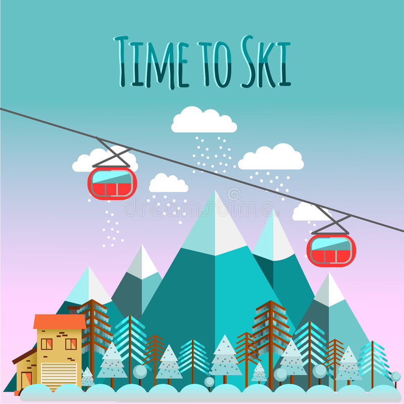 Ski landscape in flat style. Ski landscape and chalet in mountains with snow and trees in flat style. Time to ski