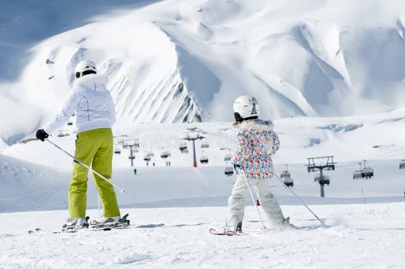 Ski lesson royalty free stock photos